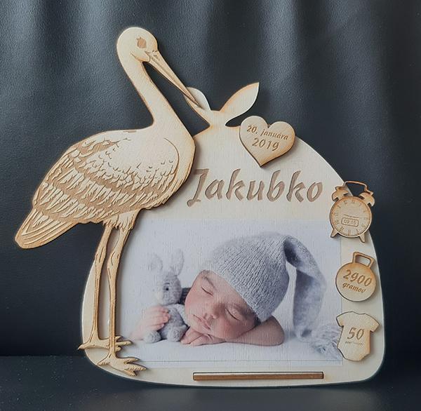 Rámiky s mierami bábätka - Rámik bocian s vrecúškom