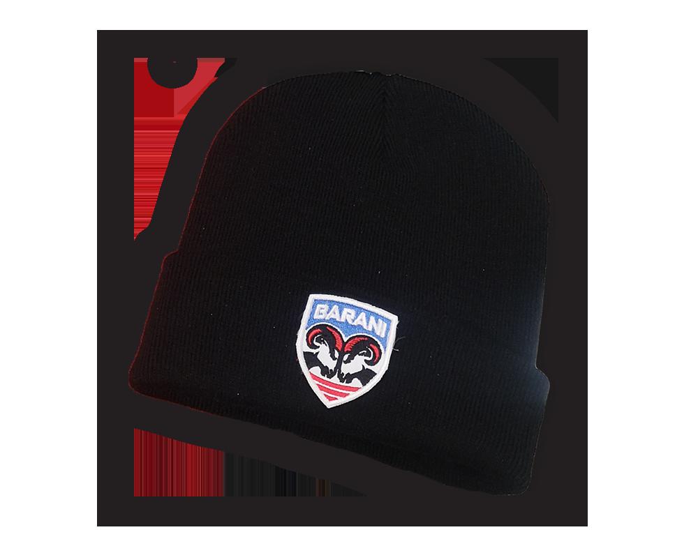 Zimná čiapka BARANI - Zimná čiapka s výšivkou loga - čierna